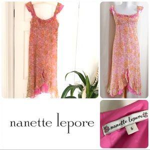 Nanette Lepore chiffon silk dress floral ruffled